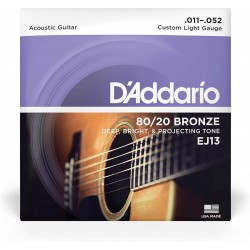 D\'ADDARIO EJ13 CORDIERA PER CHITARRA ACUSTICA 80/20 BRONZE WOUND CUSTOM LIGHT - 010/052