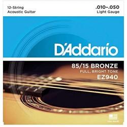 DADDARIO EZ940 CORDIERA PER CHITARRA ACUSTICA 12 CORDE 85/15 BRONZE WOUND LIGHT - 010/050