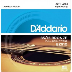 D\'ADDARIO EZ910 CORDIERA PER CHITARRA ACUSTICA 85/15 BRONZE LIGHT - 011/052