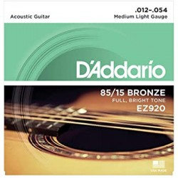 D\'ADDARIO EZ920 CORDIERA PER CHITARRA ACUSTICA 85/15 BRONZE WOUND MEDIUM LIGHT - 012/054
